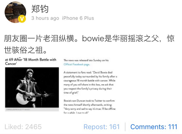 zheng jun mourns over death of David Bowie